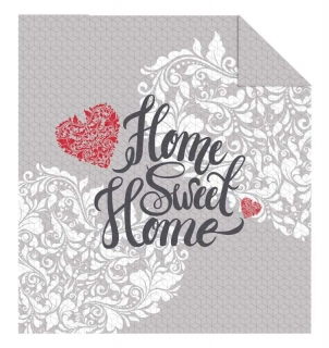 Přehoz na postel Home Sweet Home grey 220/240